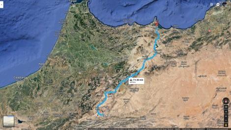 Mapa ruta Midelt-Nador