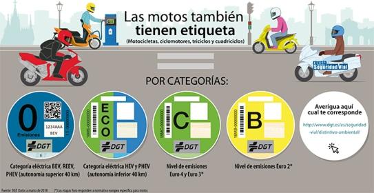 Etiquetas motos DGT