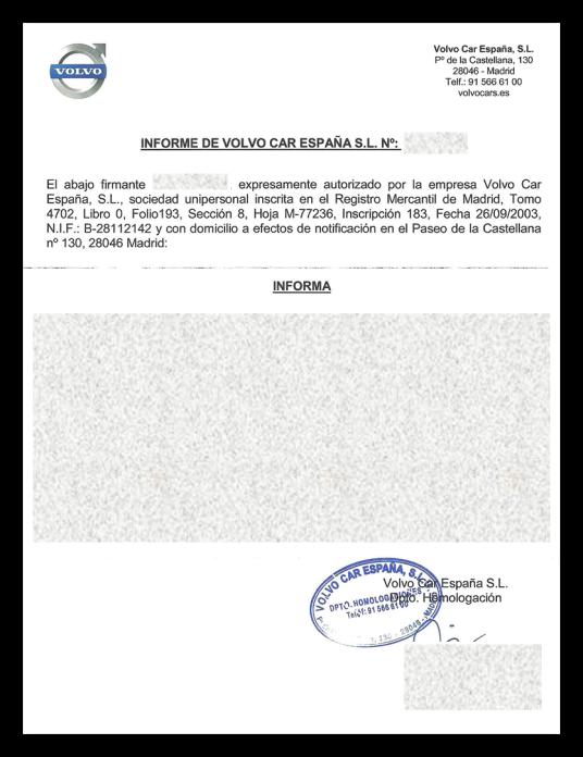 Informe homologacion Volvo Car España